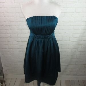 The Limited Teal Blue Strapless Silky Dress